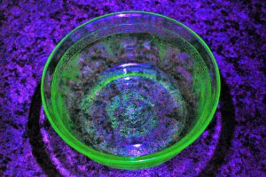 uranium glass small fancy bowl